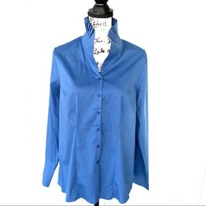 📁 Soft Surroundings Blue Pleated Collar Shirt M